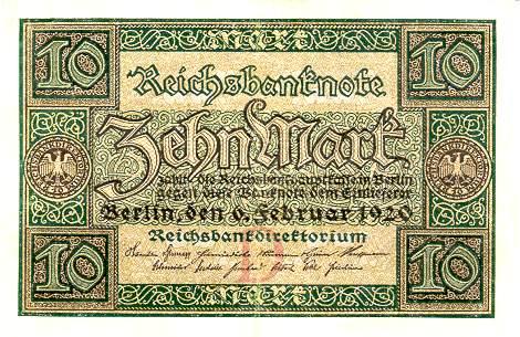 10 немецкая марка 1922 года