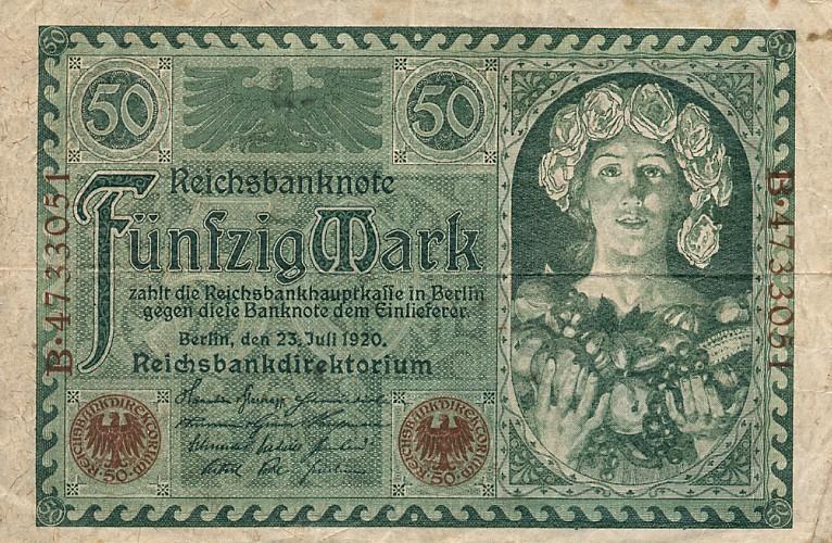 50 немецкая марка 1922 года