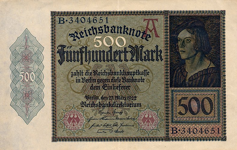 500 немецкая марка 1922 года
