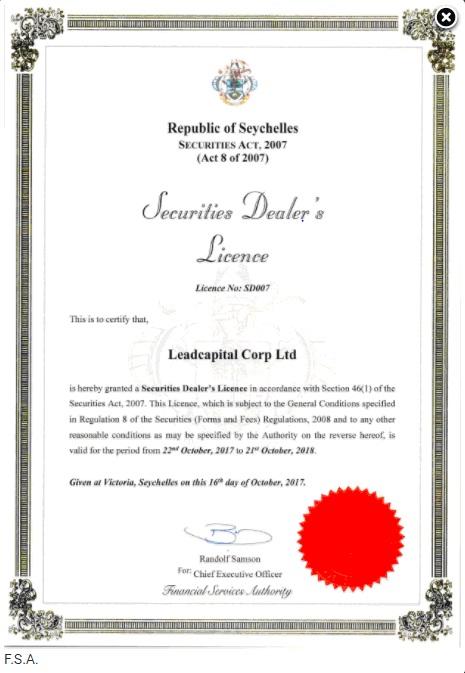 Наличие лицензий брокера FinmaxFX