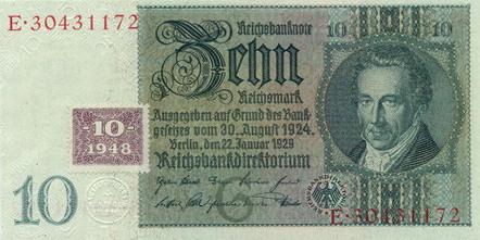10 марок гдр 1948