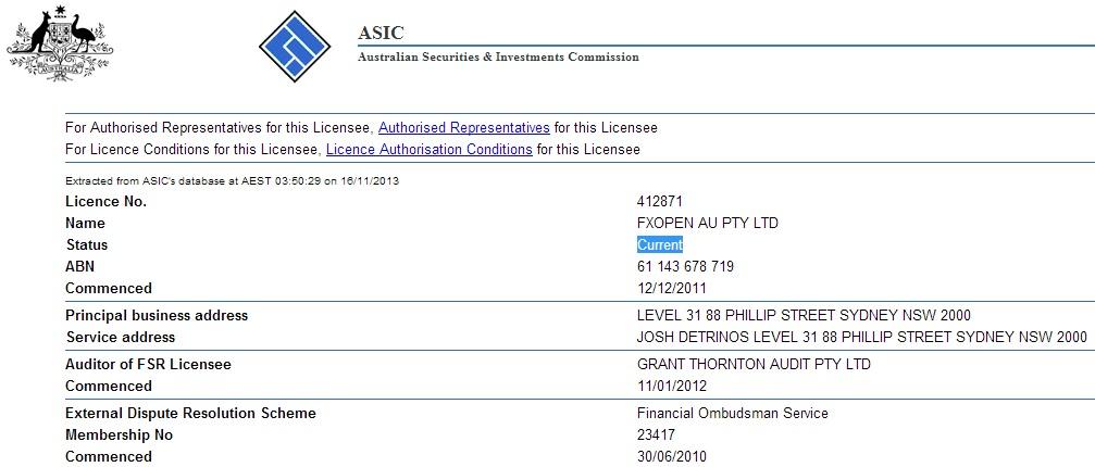 Регистрация в  ASIC